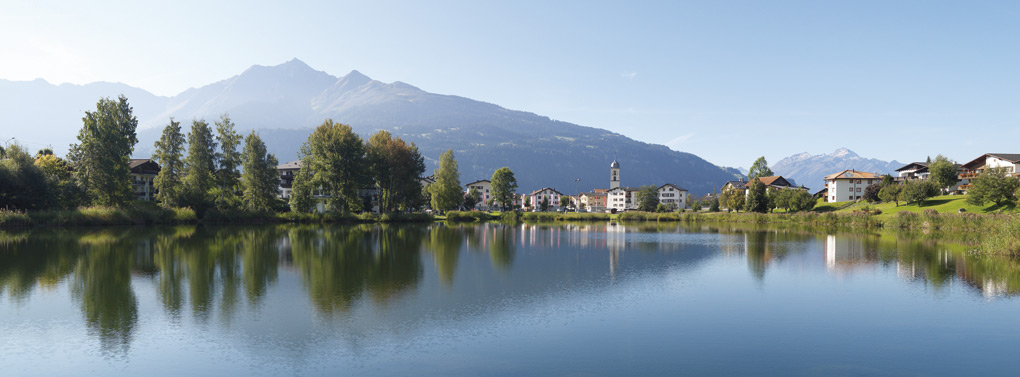 Flims village by lake